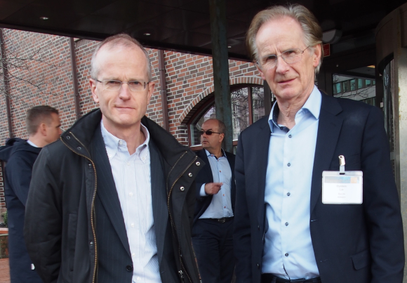 The cousins who gave birth to the idea behind Holberg Triton: Hogne Tyssøy (left), a partner at Holbergfondene, and Øystein Lie, Professor and Dean at NMBU. Photographed at the North Atlantic Seafood Forum in Bergen. Picture: Finn Eirik Larsen.