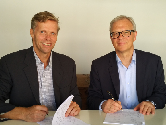 AquaGen acquires majority shareholding of Aquabel, the leading supplier of tilapia genetics to the Brazilian aquaculture industry. From left, Ricardo Neukirchner, Owner and CEO of Aquabel and Odd Magne Rødseth, Chairman of AquaGen.